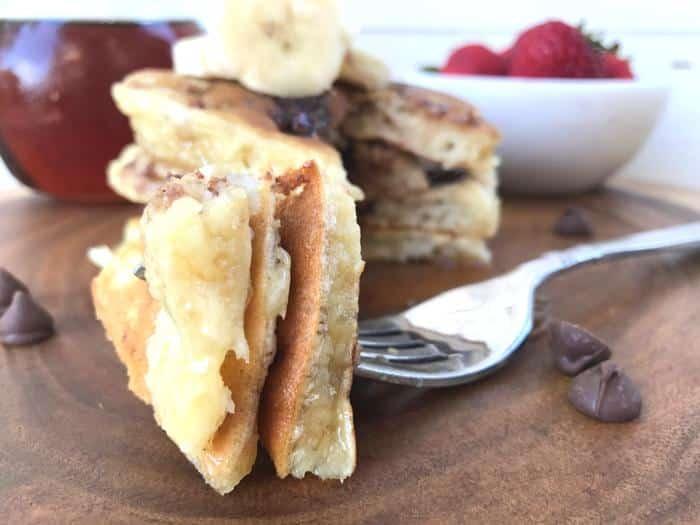 Banana Chocolate Chip Pancakes HORIZONTAL FEATURE up close