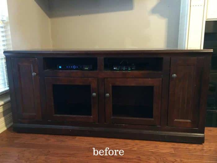 Diy Tv Stand Makeover Annie Sloan Chalk Paint In Old White The Whole Cook