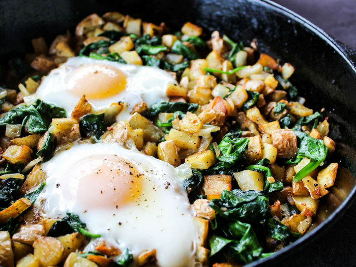 Spinach & Arugula Breakfast Hash by The Whole Cook horizontal up close