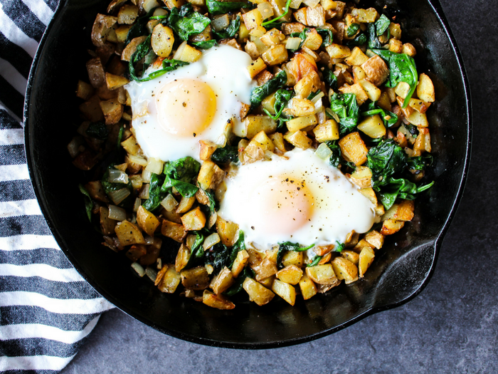 Spinach & Arugula Breakfast Hash by The Whole Cook horizontal