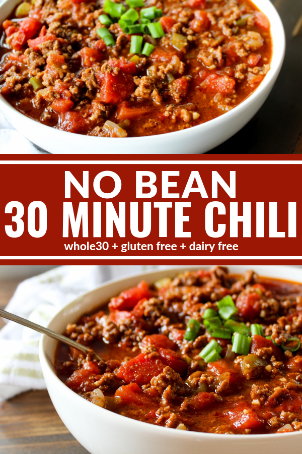 This No Bean 30 Minute Chili is hearty comfort food at it's best! Thick, hearty, and a family favorite. Plus it's Whole30 compliant, dairy free, and gluten free!