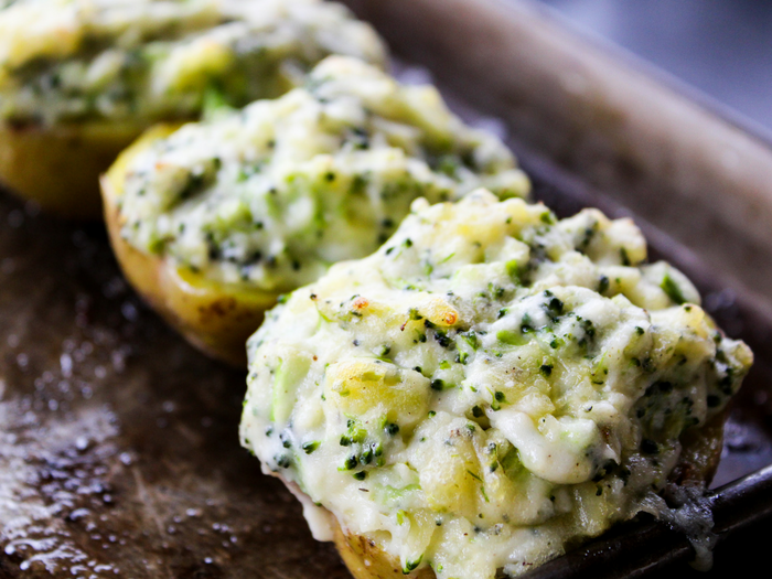 Broccoli Ranch Twice Baked Potatoes by The Whole Cook horizontal out of the oven