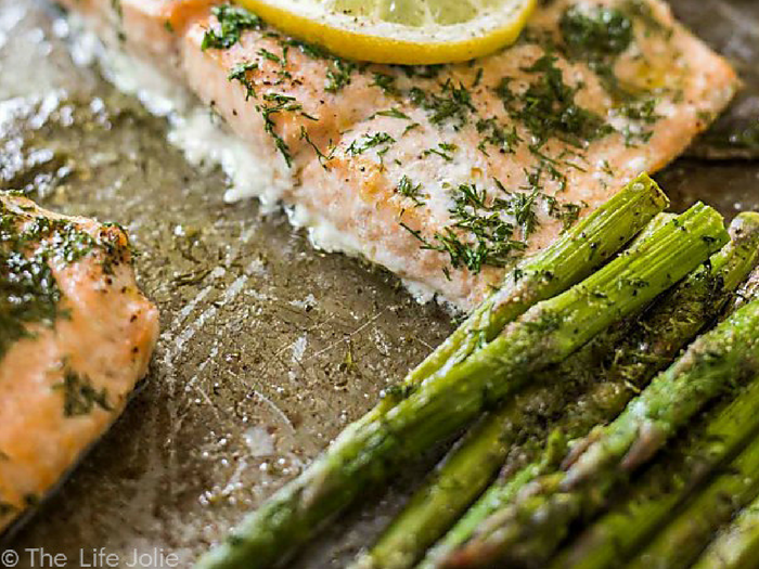 20 Minute Sheet Pan Lemon Dill Salmon and Asparagus by The Life of Jolie