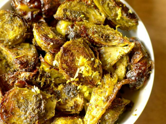 Crispy Lemon Pesto Roasted Brussels Sprouts by Athletic Avocado