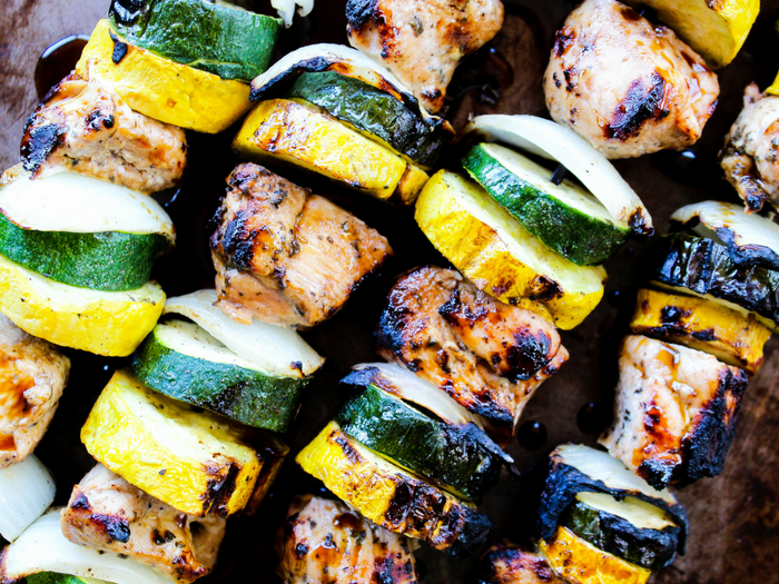 Garlic Balsamic Chicken Kabobs by The Whole Cook horizontal up close