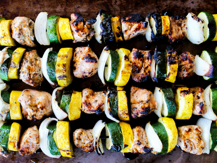 Garlic Balsamic Chicken Kabobs by The Whole Cook horizontal
