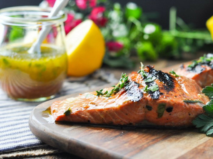 Garlic Herb Salmon Marinade by The Seasoned Mom