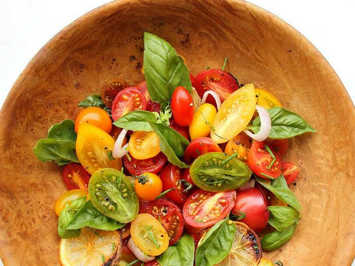 Heirloom Tomato Salad with Roasted Lemon and Garlic by Simply Fresh Dinners