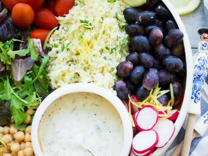 Lemon Cauliflower Rice Salad with Yogurt Dressing by Two Purple Figs