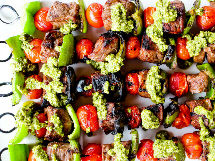 Pesto Steak Kabobs by The Whole Cook horizontal