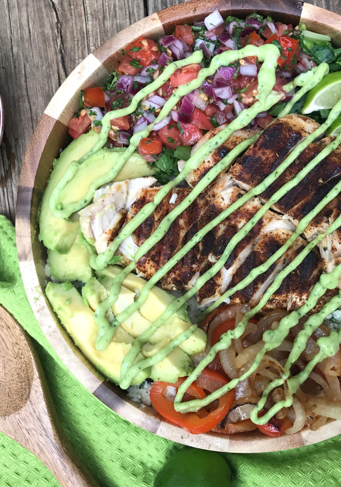 Grilled Chicken Cauli Rice Burrito Bowl by The Whole Cook VERTICAL FEATURE