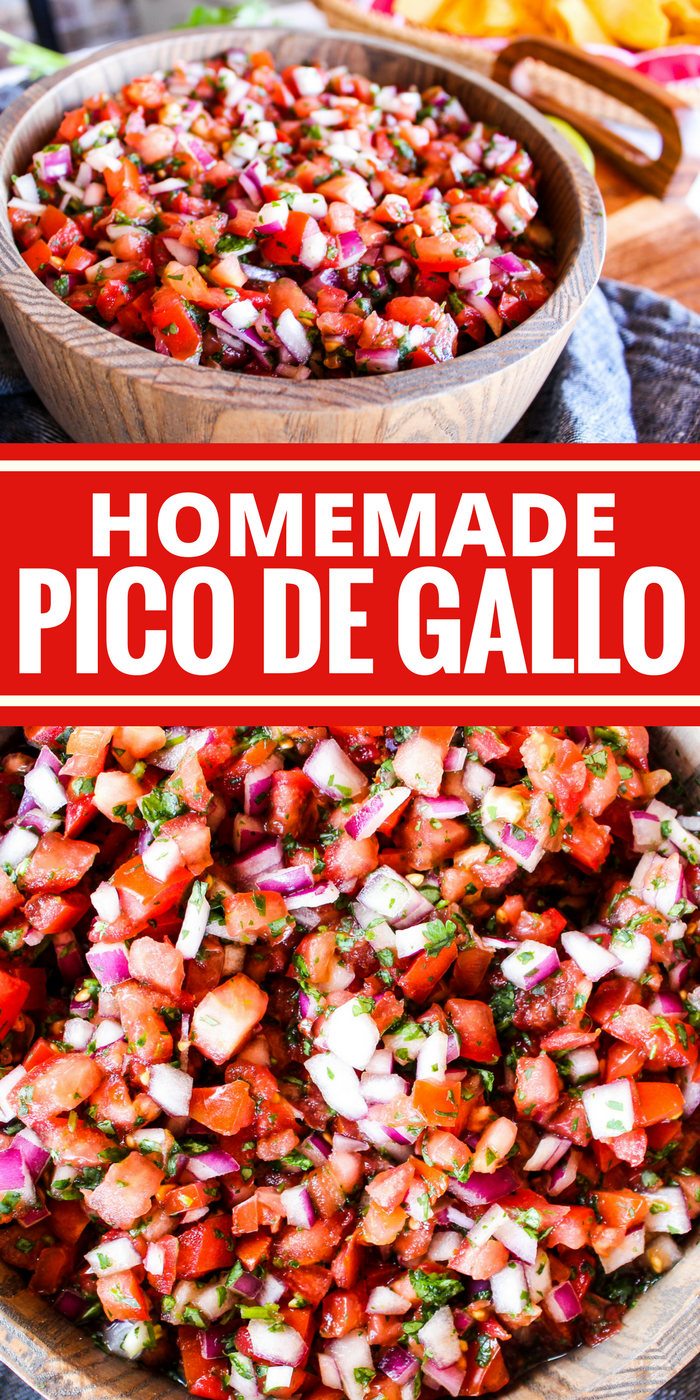 This homemade Pico de Gallo is a flavorful dip or topping for just about everything. Fast to make and full of fresh ingredients!