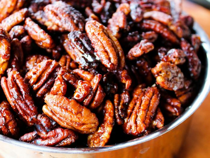 Sticky Candied Pecans by The Whole Cook horizontal in bowl