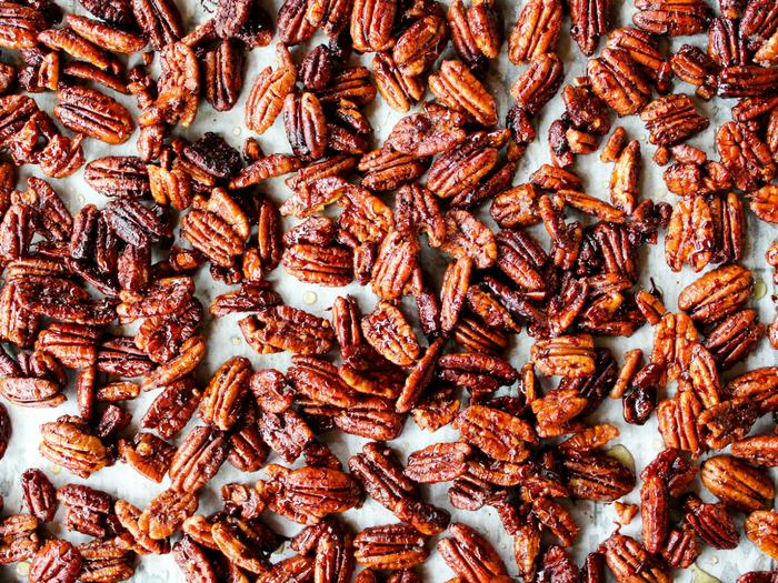 Sticky Candied Pecans by The Whole Cook horizontal tray
