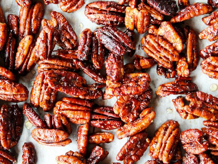 Sticky Candied Pecans by The Whole Cook horizontal up close tray
