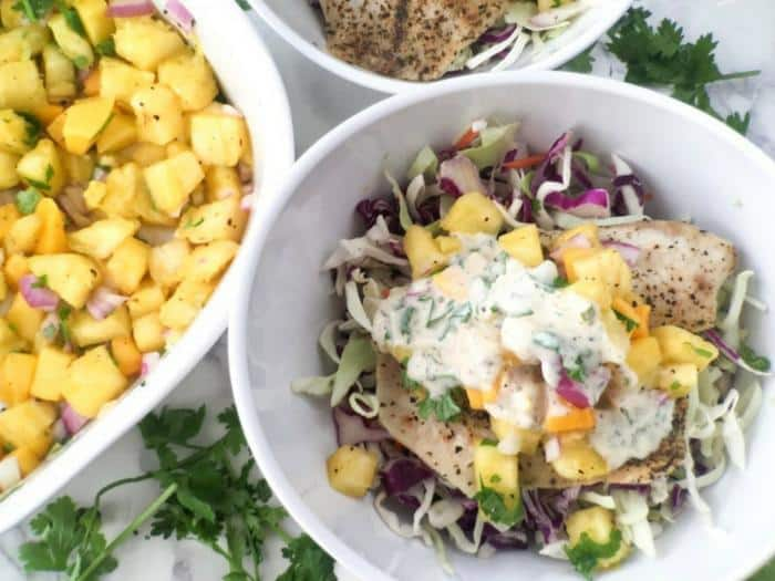 Cilantro Lime Fish Taco Bowl by Healthy Little Peach