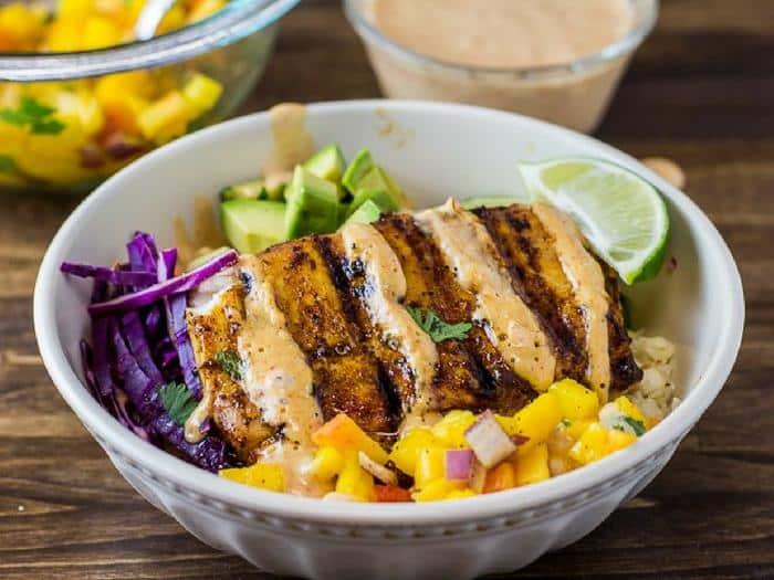 Grilled Mahi Mahi Taco Bowls by Fit Happy Free