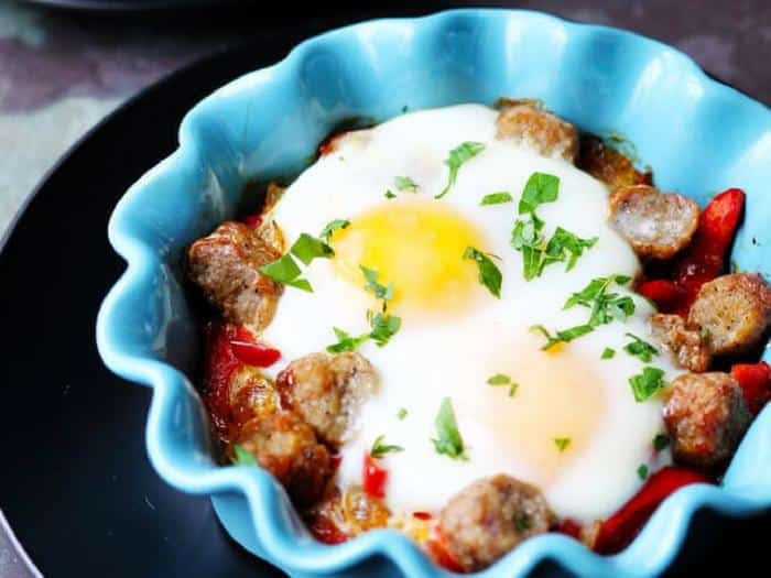 Oven Baked Eggs with Sausage & Peppers by Innocent Delight