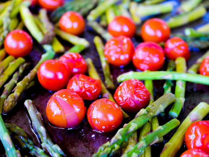 Roasted Balsamic Tomatoes & Asparagus by The Whole Cook horizontal