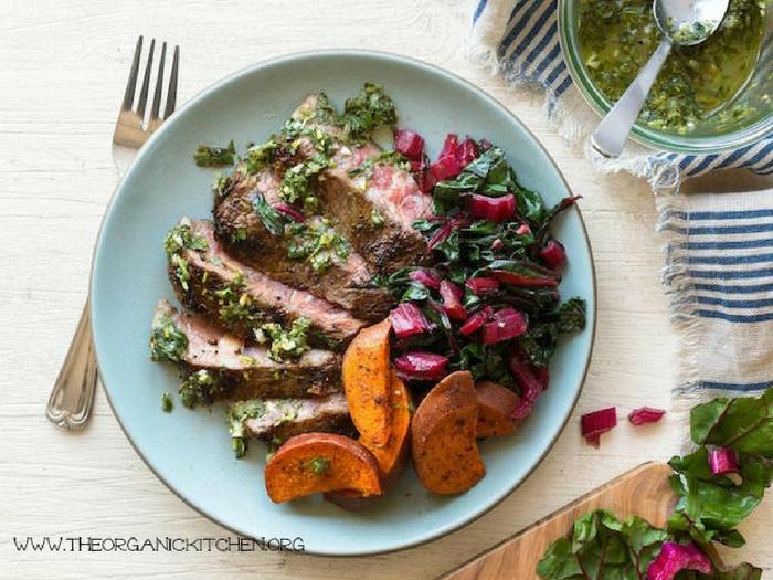 Steaks with Chimichurri & Roasted Sweet Potatoes by The Organic Kitchen 2