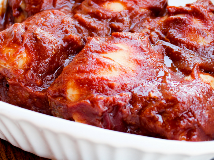 Sugar Free Oven Baked BBQ Chicken by The Whole Cook horizontal in baking dish