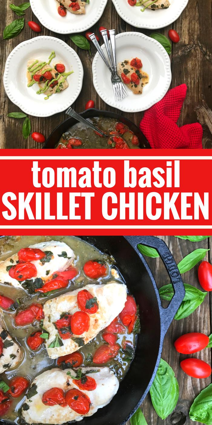 Tomato Basil Skillet Chicken by The Whole Cook