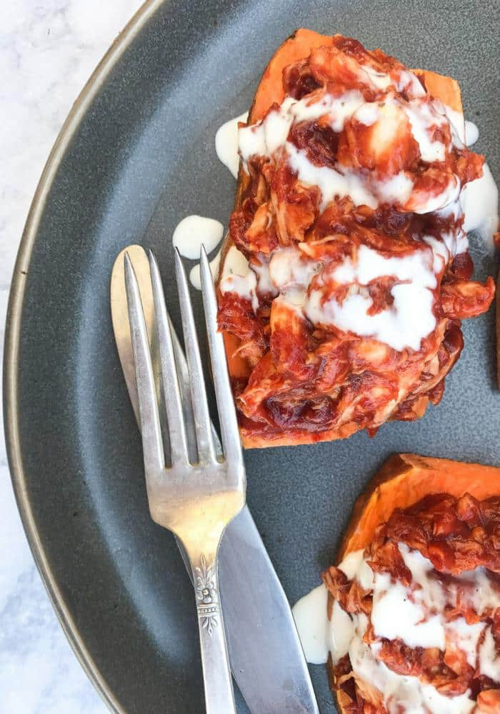 Barbecue Chicken on Sweet Potato Toast by The Whole Cook VERTICAL FEATURE(1)
