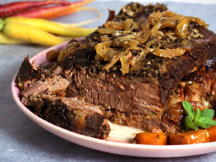 Slow Cooker Brisket by Paleo Bee