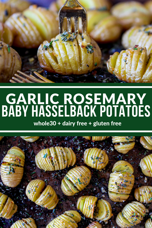 Garlic Rosemary Baby Hasselback Potatoes are a delicious appetizer or side dish. You only need 5 simple ingredients to create these mini delights! Plus they're Whole30, dairy free, & gluten free!