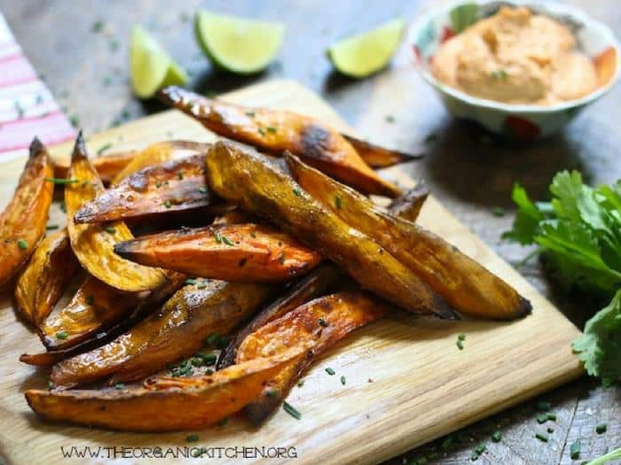 Easy Baked Sweet Potato Wedges with Chipotle Cashew Lime Dip by The Organic Kitchen