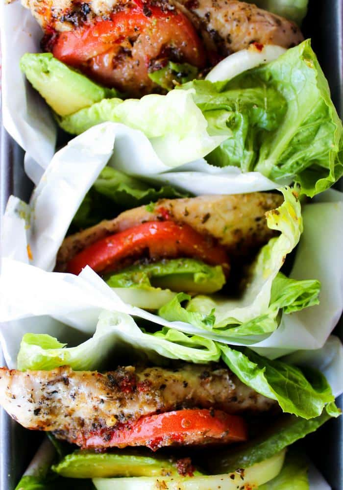 Italian Marinated Chicken Lettuce Wraps by The Whole Cook vertical