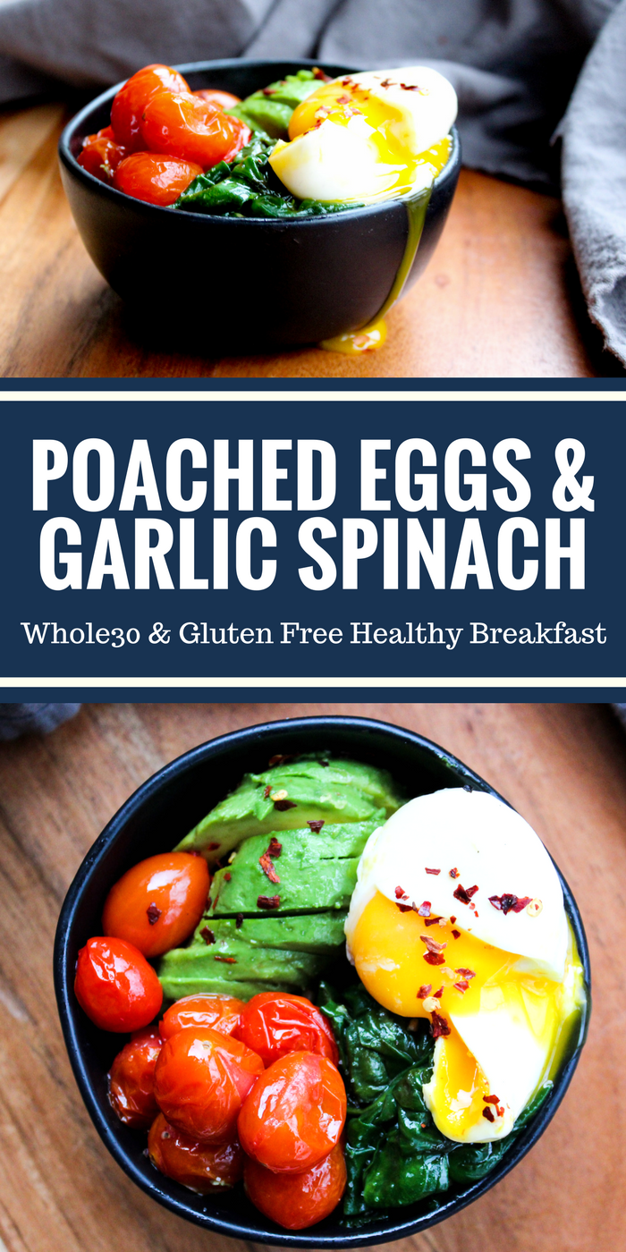 Poached Eggs & Garlic Spinach is light, colorful, and delicious. It's a healthy way to start your day that will leave you feeling great. Plus it's Whole30, paleo, gluten free, and dairy free!