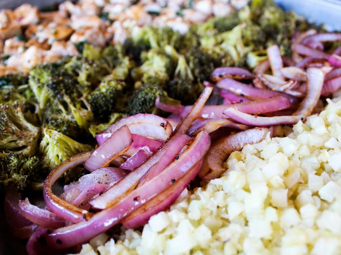 Sheet Pan Balsamic Basil Chicken Cauliflower Rice Bowl by The Whole Cook horizontal