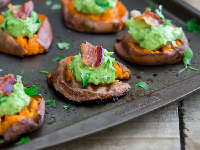 Smashed Sweet Potato Guacamole Bites by Running to the Kitchen