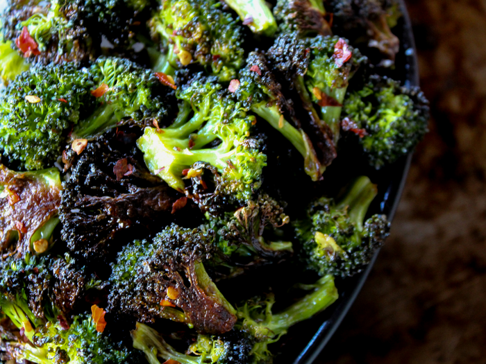 Spicy Roasted Broccoli by The Whole Cook horizontal bowl