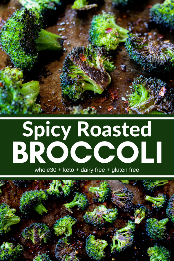 This Spicy Roasted Broccoli is crispy on the outside, tender on the inside, and packs some heat. It cooks quickly with minimal prep. Plus it's Whole30, Keto, dairy free, and gluten free!