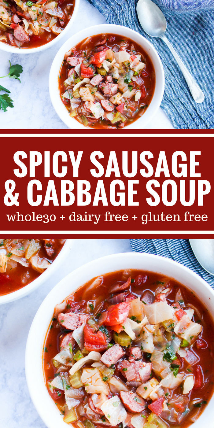 This Spicy Sausage & Cabbage Soup is light on calories but big on flavor. It will heat you from the inside out on a chilly evening. Plus it's Whole30, dairy free, & gluten free!