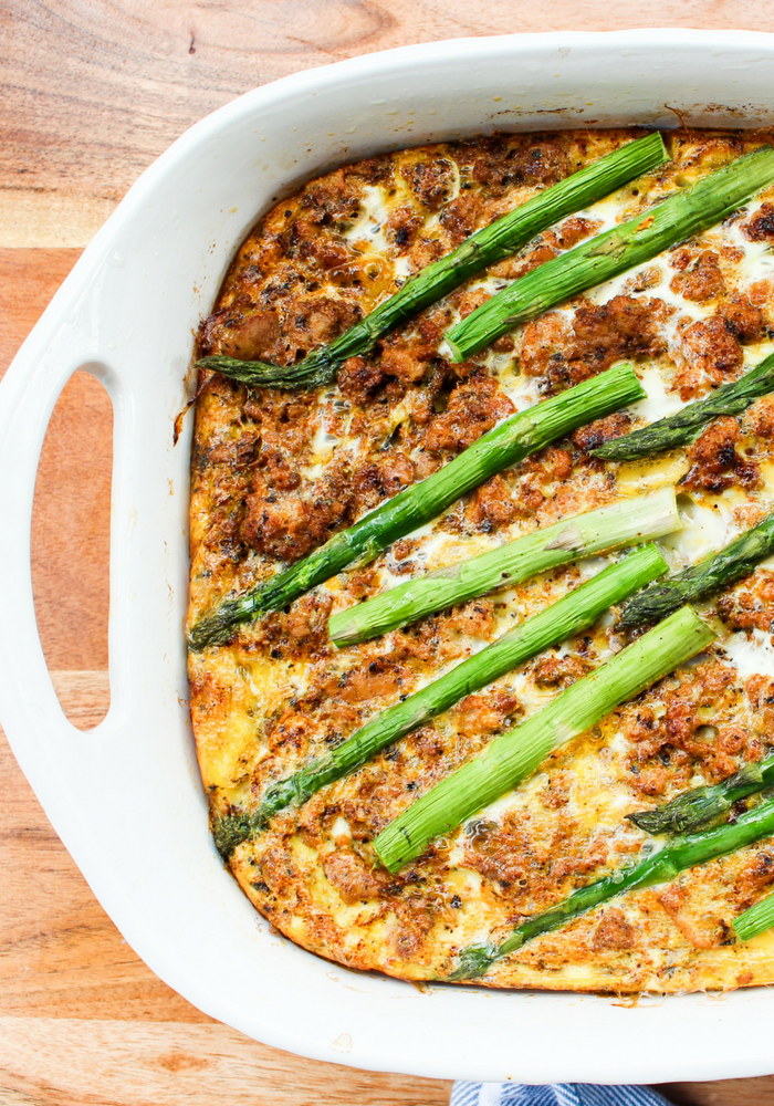 Turkey & Asparagus Breakfast Casserole by The Whole Cook vertical