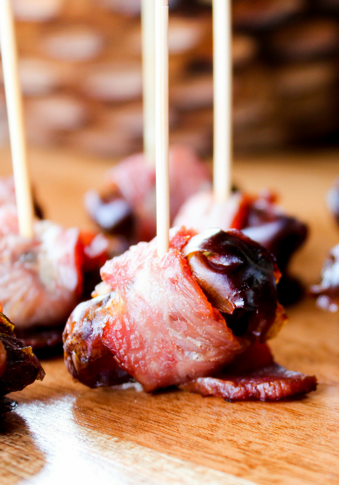 Turkey Bacon Wrapped Dates by The Whole Cook up close