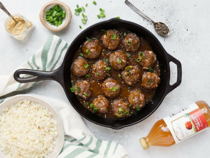 Whole30 Cauliflower Rice Meatballs by The Movement Menu