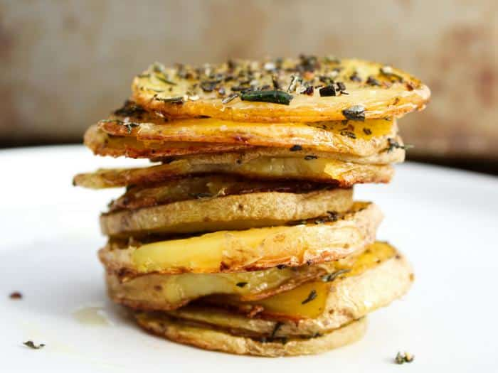 Baked Herb Potato Rounds by The Whole Cook horizontal stack