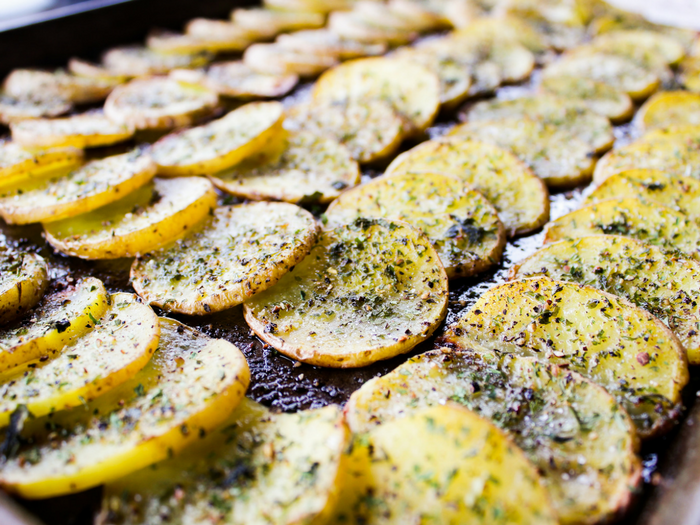 Baked Herb Potato Rounds by The Whole Cook horizontal tray