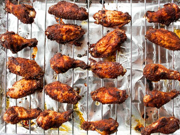 Chipotle Peach Baked Wings by The Whole Cook horizontal dry rub