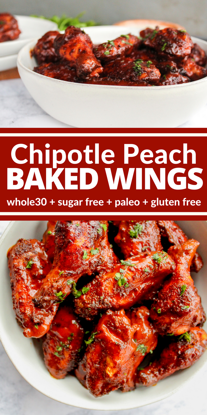 Chipotle Peach Baked Wings are covered in a spicy dry rub, baked to perfection, and then slathered in a tangy chipotle peach sauce you're really going to love! You can even enjoy them while maintaining a healthy Whole30 or gluten free lifestyle!