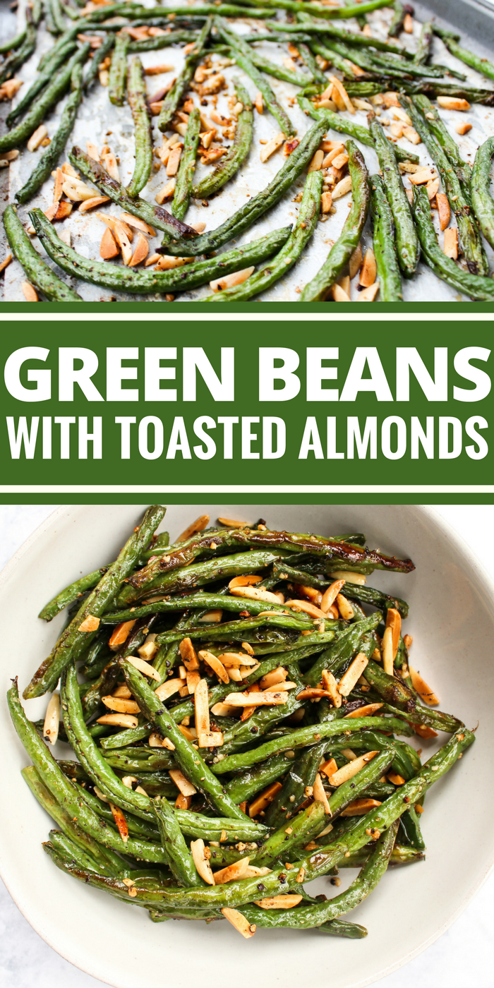 Green Beans with Toasted Almonds have a yummy char that comes from roasting and the almonds give this dish the perfect crunch. Plus they're Whole30, gluten free, dairy free, & vegan!