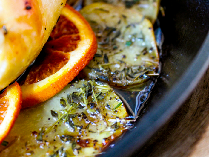 Orange Herb Roasted Chicken by The Whole Cook horizontal potatoes