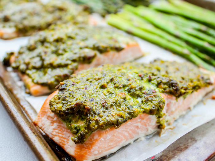 Pistachio Herb Crusted Salmon with Asparagus by The Whole Cook horizontal