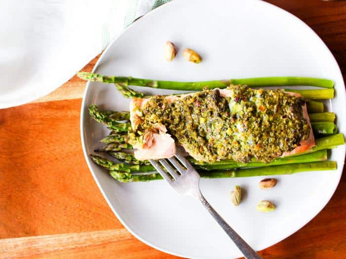 Pistachio Herb Crusted Salmon with Asparagus by The Whole Cook horizontal(1)