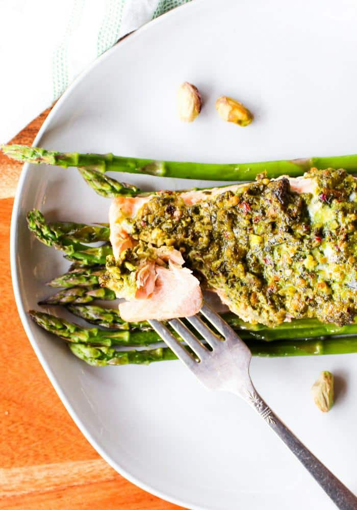 Pistachio Herb Crusted Salmon with Asparagus by The Whole Cook vertical