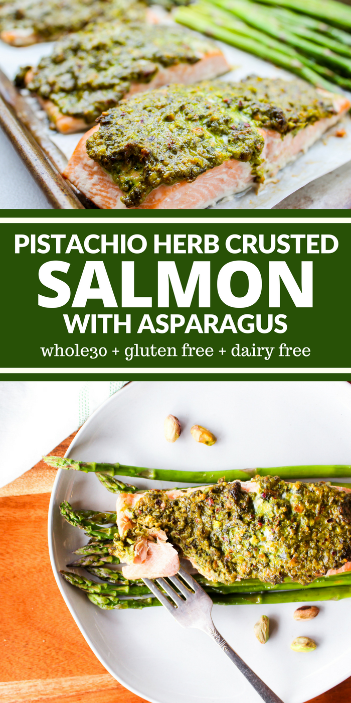 Sheet Pan Pistachio Herb Crusted Salmon & Asparagus is a delicious dinner that will please even the pickiest seafood eater. The crust is salty, lemony, and out of this world good! Plus it's Whole30, gluten free, and dairy free!